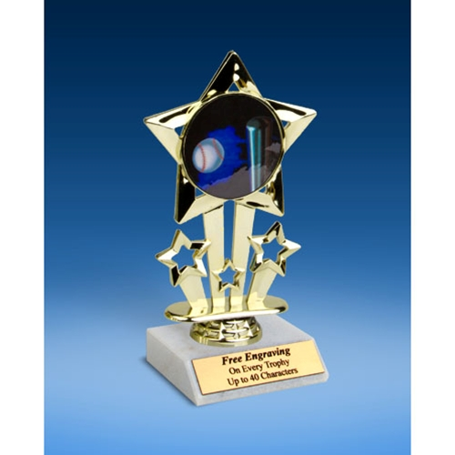 "Softball 1 Quad Star Mylar Holder Trophy 6"""