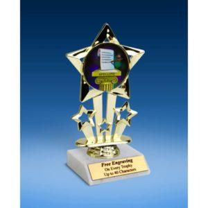 "Spelling Quad Star Mylar Holder Trophy 6"""