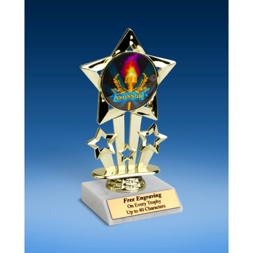 """Sponsor Quad Star Mylar Holder Trophy 6"""""""