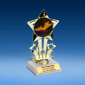 "Track Quad Star Mylar Holder Trophy 6""-0"
