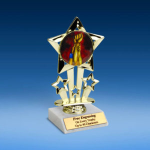 "Wrestling Quad Star Mylar Holder Trophy 6""-0"