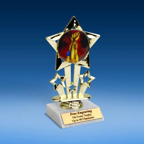 """Wrestling Quad Star Mylar Holder Trophy 6""""-0"""