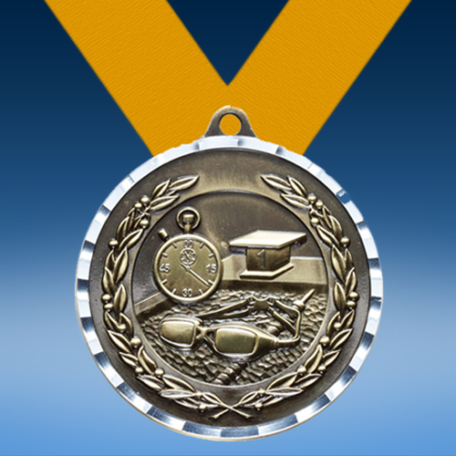Swimming Diamond Cut Medal-0