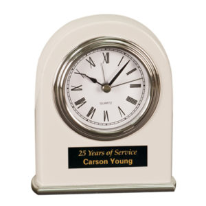 White Arched Desk Clock