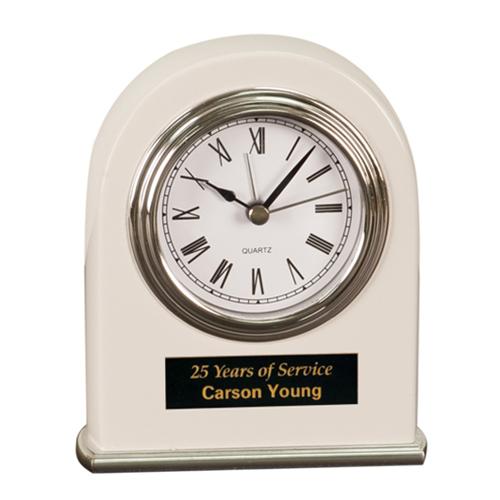 White Arched Desk Clock