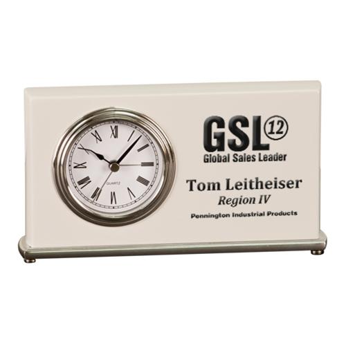 White Horizontal Desk Clock