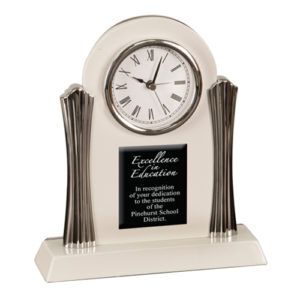 White Desk Clock with Silver Metal Columns