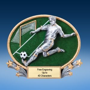 Soccer Male 3D Colored Resin Oval