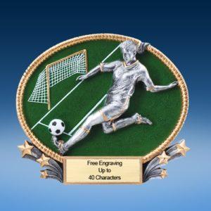 Soccer Female 3D Colored Resin Oval