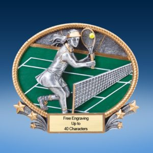 Tennis Female 3D Colored Resin Oval