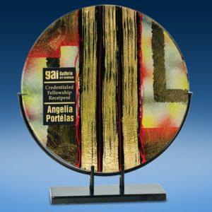 Round Golden Specks Art Glass