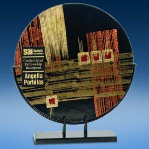 Round Gold Bronze Art Glass