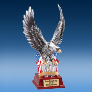 Silver Toned Eagle Resin Sculpture
