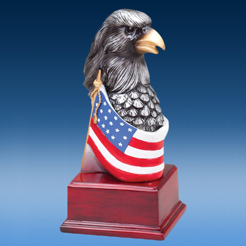 Silver Toned Eagle Head Resin Sculpture