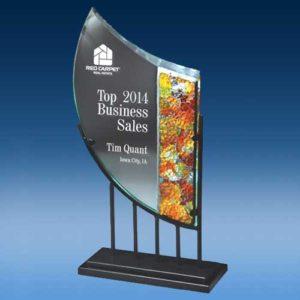 Cobblestone Art Glass w/ Metal Stand
