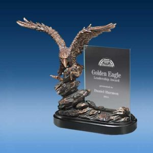 Landing Eagle Glass Sculpture-0