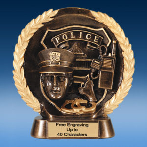 Police High Relief Oval Resin