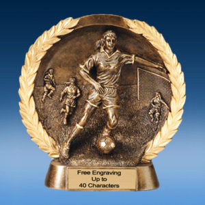 Soccer Female High Relief Oval Resin
