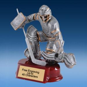 Hockey Goalie Silver/Gold Tone Resin