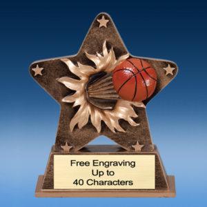 Basketball Star Burst-Thru Resin