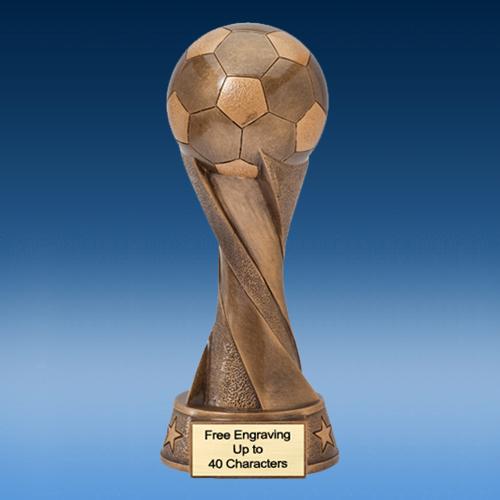 Bronze Soccer Spiral Ball Resin