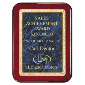 Rounded Rosewood Classic Series Plaque Blue