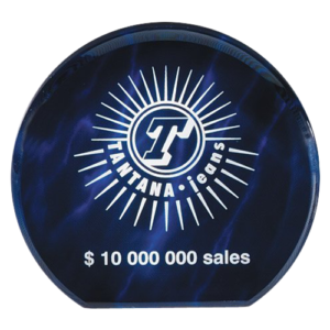 Blue Acrylic Round Paperweight