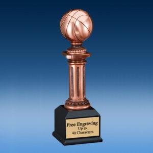 Basketball Bronzed Tower Sculpture