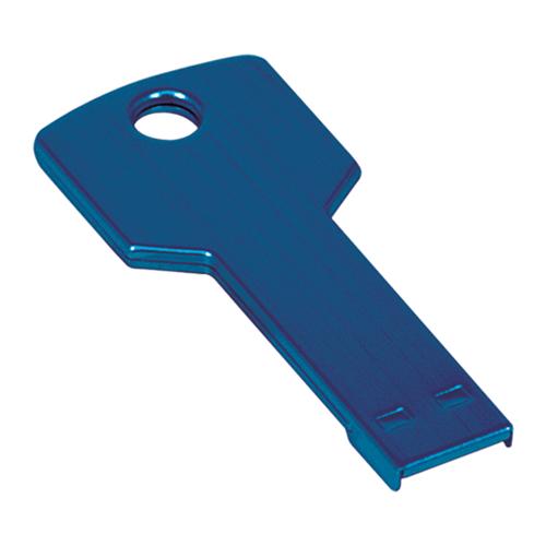 Blue Laserable Key Flash Drive