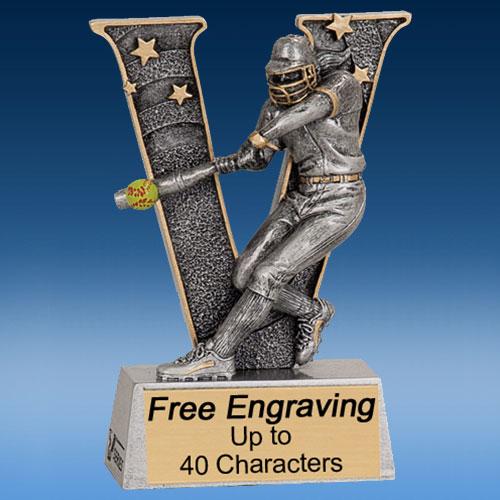 """Softball """"V"""" Series Resin Award-0"""