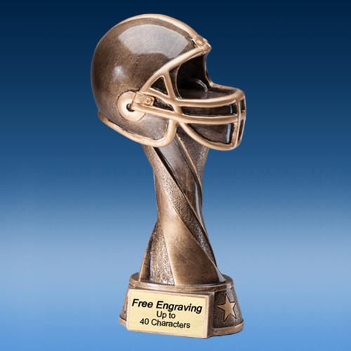 Bronze Football Helmet Spiral Resin