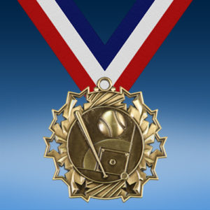 Softball Ten Star 3D Medal-0