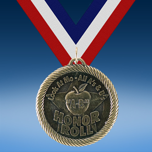 """Apple"" A-B Honor Roll Academic Wrapped Medal-0"
