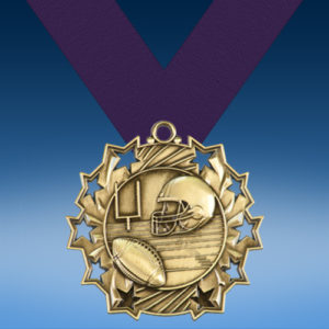 Football Ten Star 3D Medal-0