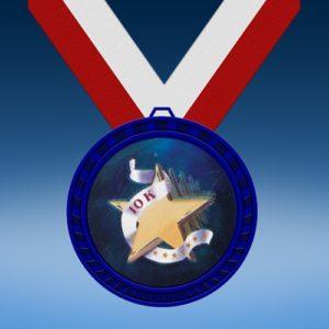 10K Blue Colored Insert Medal