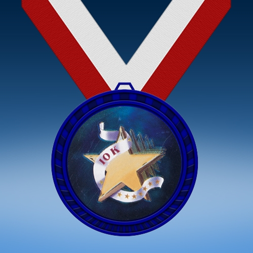 10K Blue Colored Insert Medal