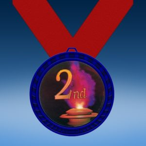 2nd Place Blue Colored Insert Medal