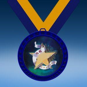 5K Blue Colored Insert Medal