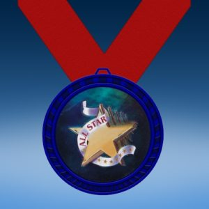 All Star Blue Colored Insert Medal