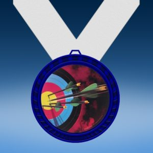 Archery Blue Colored Insert Medal