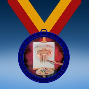 Art Blue Colored Insert Medal