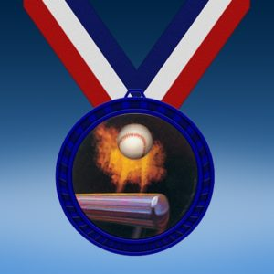 Baseball Blue Colored Insert Medal
