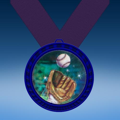 Baseball 2 Blue Colored Insert Medal