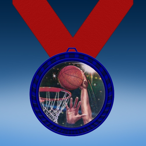 Basketball 2 Blue Colored Insert Medal