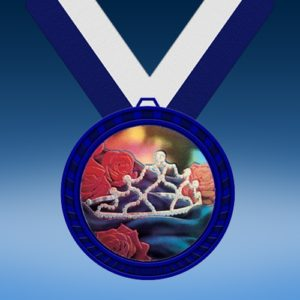 Beauty Queen Blue Colored Insert Medal