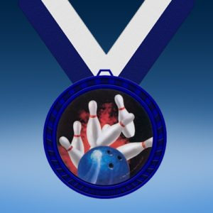 Bowling 1 Blue Colored Insert Medal