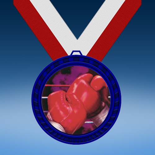 Boxing Blue Colored Insert Medal
