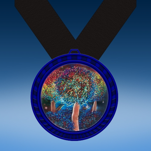 Cheerleading 2 Blue Colored Insert Medal