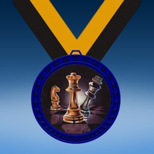 Chess Blue Colored Insert Medal