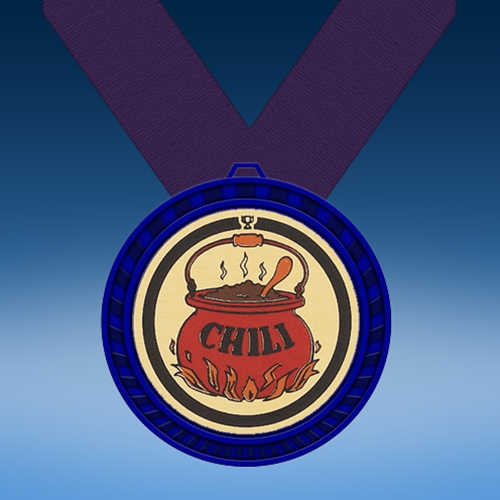 Chili Blue Colored Insert Medal